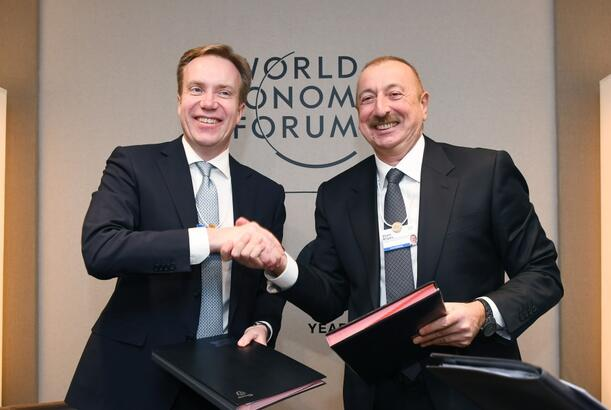 President Ilham Aliyev met with President of World Economic Forum in Davos